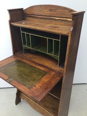 Lot 37 - Edwardian Art Nouveau oak escritoire, 65cm wide x 123cm high