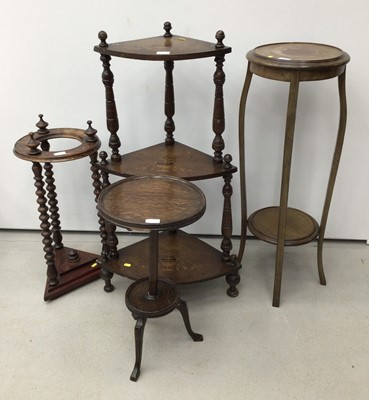 Lot 43 - Edwardian inlaid corner whatnot, mahogany torchere, stick stand and another torchere (4)