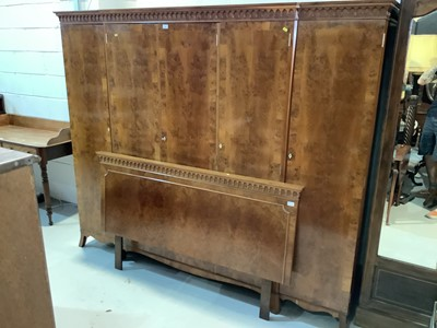 Lot 83 - Good quality yew wood veneered wardrobe with fitted interior on bracket feet 231cm wide x 190cm high and matching headboard 158.5cm wide