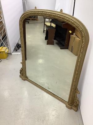 Lot 84 - Victorian gilt framed over mantle mirror 123cm wide x 126cm high