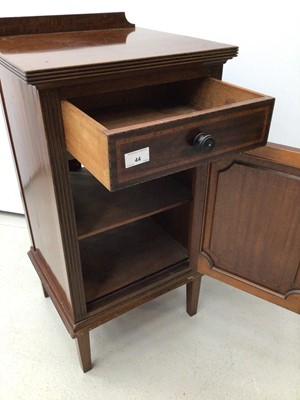 Lot 44 - Ewardian inlaid mahogany bedside cupboard with single drawer and panelled door below, 40cm wide x 78cm high