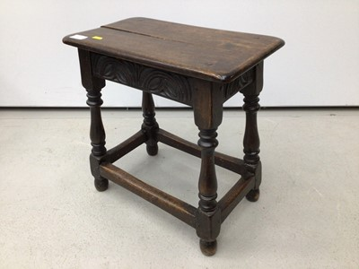 Lot 48 - Carved oak joint stool on turned and block legs joined by stretchers, 44cm wide x 25cm deep x 45.5cm high