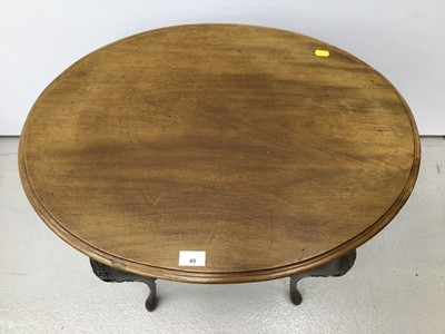 Lot 49 - Edwardian mahogany oval occasional table on slender cabriole legs 68cm wide