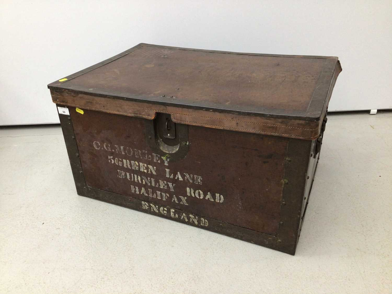 Lot 50 - Metal bound trunk, 72cm wide x 51cm deep x 38cm high