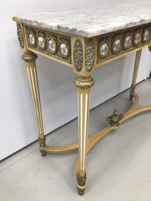 Lot 87 - Antique style hall table with marble top, frieze inset with porcelain plaques on fluted turned legs joined by stretchers 107cm wide x 43cm deep x 83cm high