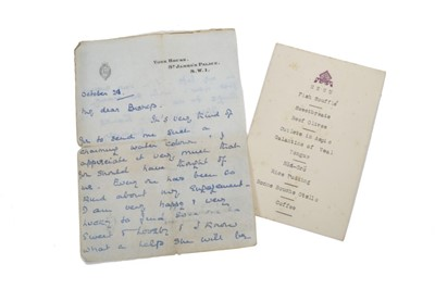 Lot 24 - H.R.H. Prince George The Duke of Kent , handwritten double sided letter on York House headed writing paper, dated October 24 th