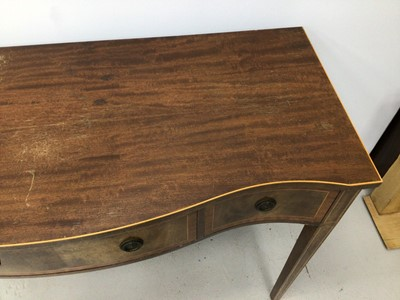 Lot 93 - Georgian style inlaid mahogany serpentine fronted serving table with three drawers on square taper legs, 122.5cm wide, 49cm deep, 87.5cm high