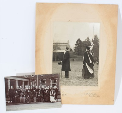 Lot 25 - Wellington College, two Edwardian black and white photographs of King Alfonso XIII of Spain visiting the school (2)