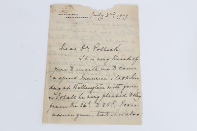 Lot 26 - H.R.H. Princess Beatrice , handwritten double sided letter to Reverend Pollock - Headmaster of Wellington College dated July 3rd 1909 written on Palacios Real, San Ildefonso headed writing paper.
