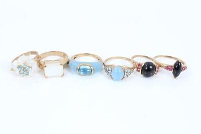 Lot 88 - Six 9ct gold gem set dress rings