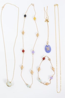 Lot 93 - 14ct gold necklace and matching bracelet and three other 14ct gold necklaces