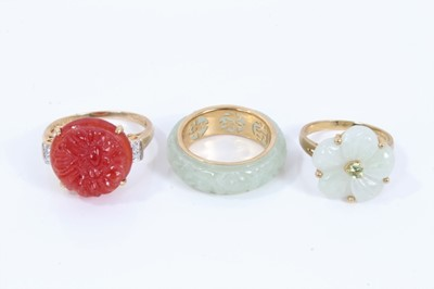 Lot 94 - 14ct gold hard stone rings
