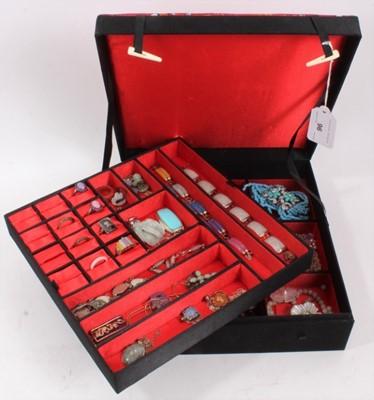 Lot 96 - Chinese Jewellery box containing silver mounted hard stone jewellery