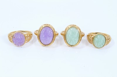 Lot 95 - Four 14ct gold hard stone rings