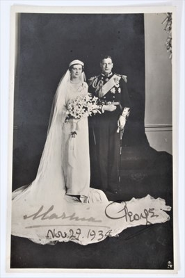 Lot 31 - T.R.H. The Duke and Duchess of Kent signed black and white wedding photograph postcard