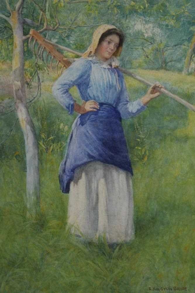 Lot 39 - E Kington-Brice watercolour – country girl with rake