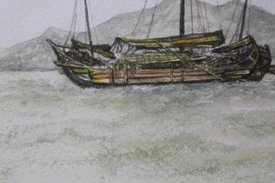 Lot 43 - Sir Rutherford Alcock (1809-1897) pencil and watercolour - Junk off headland at the Woofoomun