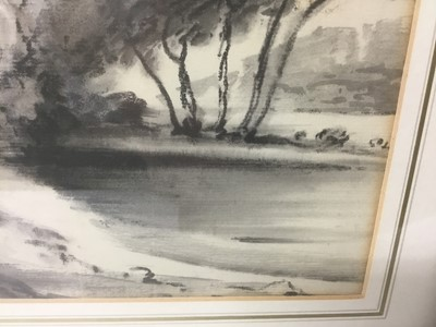 Lot 15 - Thomas Monro (1759-1833) charcoal and wash - a landscape, in glazed gilt frame