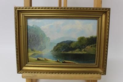 Lot 42 - Fearnleigh Leonard Montague (1835-1880) oil on canvas board - Australian Landscape, inscribed verso, 15cm x 23cm, in gilt frame