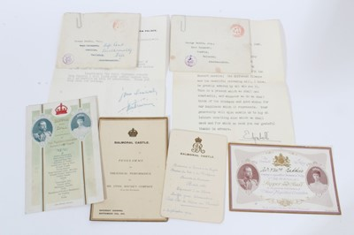 Lot 32 - A group of Royal ephemera comprising King George V invitation to a Supper and ball at Balmoral to celebrate the Coronation 1911 and menu for same, Balmoral Castle King George V menu card dated 11th...