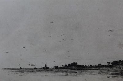 Lot 46 - William Lionel Wyllie (1851-1931) signed artist proof etching - Gorinchern, Holland, 19cm x 48cm, in glazed oak frame  Provenance: T. Richardson & Co, Piccadilly