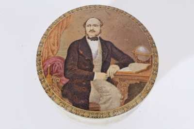 Lot 55 - Victorian Prattware pot lid and base printed with a portrait of 'The late Prince Consort' 10.5 cm diameter