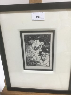 Lot 136 - Charles Thrupp Nightingale (1878-c.1939) signed woodcut - Echo, titled, signed and dated 1922 in pencil, in glazed frame p