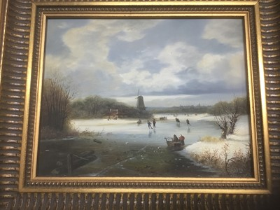 Lot 135 - P. Rush, 20th century, oil on panel - Dutch winter landscape with figures on a frozen lake, signed, in gilt frame