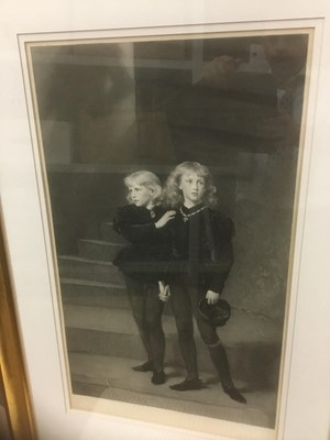 Lot 133 - Samuel Cousins, after Sir John Everett Millais, 19th century mezzotint - The Princes in the Tower, signed in pencil by both artists, published by The Fine Art Society 1879, 71cm x 42cm, in glazed g...