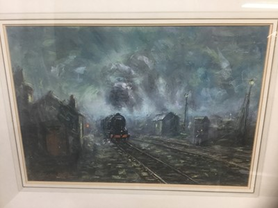 Lot 134 - Peter W. G. Coombs, 20th century, pastel - Leaving the Station, signed, 36cm x 51cm, in glazed gilt frame