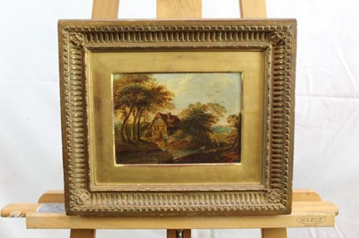 Lot 41 - Nasmyth, 19th century, oil on board - figures before a country cottage, indistinctly signed, 14.5cm x 19.5cm, in gilt frame