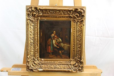 Lot 88 - Pair 19th century Continental School oils on tin panels - a piper and figures in an interior, 20cm x 16cm, in gilt frames