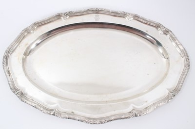 Lot 39 - Late 19th Century German Silver Meat Dish, from the Royal Prussian Collection, of oval form with ribbon-bound reeded border, cast and chased at intervals with fruiting vines. Engraved with WR monog...