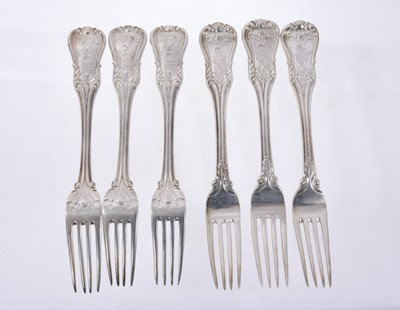 Lot 40 - Six Early 19th Century German Silver Dinner Forks, modified Kings pattern with fluted stems, from the Royal Prussian Collection. Each engraved with the Order of the Black Eagle surmounted by the Ro...