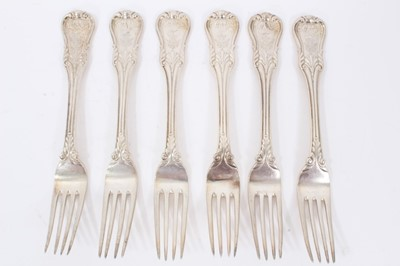 Lot 41 - Six Early 19th Century German Silver Dinner Forks, modified Kings pattern with fluted stems, from the Royal Prussian Collection. Each engraved with the Order of the Black Eagle surmounted by the Ro...