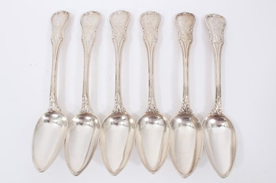 Lot 42 - Six Early 19th Century German Silver Table Spoons, modified Kings pattern with fluted stems, from the Royal Prussian Collection. Each engraved with the Order of the Black Eagle surmounted by the Ro...