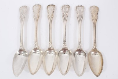 Lot 43 - Six Early 19th Century German Silver Table Spoons, modified Kings pattern with fluted stems, from the Royal Prussian Collection. Each engraved with the Order of the Black Eagle surmounted by the Ro...