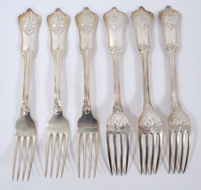 Lot 44 - Six Late 19th/early 20th Century German Silver Dinner Forks, Rococo pattern from the Royal Prussian Collection, each piece cast and chased on one side with the Royal Prussian Eagle and reverse with...
