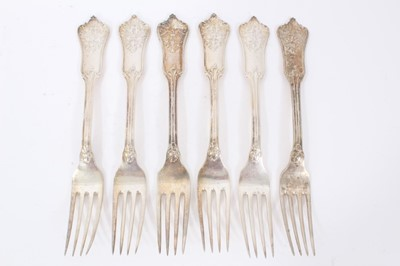 Lot 45 - Six Late 19th/early 20th Century German Silver Dinner Forks, Rococo pattern, from the Royal Prussian Collection, each piece cast and chased on one side with the Royal Prussian Eagle and reverse wit...