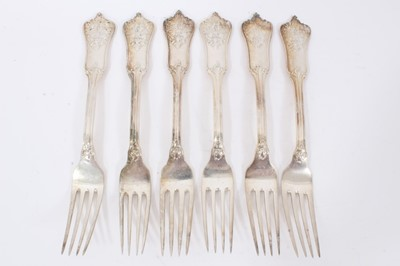Lot 46 - Six Late 19th/early 20th Century German Silver Dinner Forks, Rococo pattern, from the Royal Prussian Collection, each piece cast and chased on one side with the Royal Prussian Eagle and reverse wit...