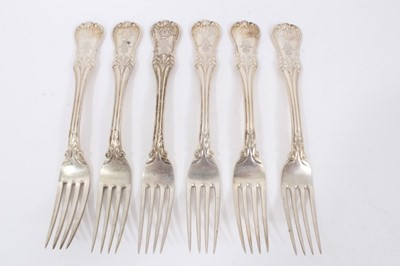 Lot 47 - Six Late 19th/early 20th Century German Silver Dinner Forks, modified Kings pattern with foliate terminals, from the Royal Prussian Collection, engraved with WR monogram with the Royal Prussian Cro...