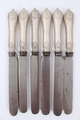 Lot 48 - Six Late 19th/early 20th Century German Silver Dinner Knives with steel blades, Rococo pattern handles, from the Royal Prussian Collection, each cast on one side with the Royal Prussian Eagle and t...