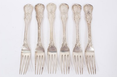 Lot 50 - Six mid 19th century German Silver Dinner Forks, Modified Kings pattern with fluted stems and foliate terminals, from the Royal Prussian Collection, each cast and chased with raised WR monogram wit...