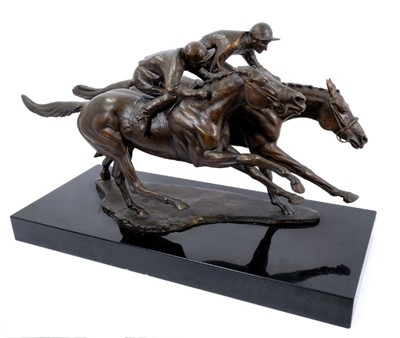 Lot 917 - Bernard Winskill (d. 1980) very large bronze figural group depicting Charlottown and Pretendre in the finish of the 1966 Derby