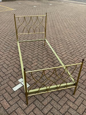 Lot 124 - Brass single bed with side irons, 89cm wide