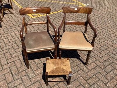 Lot 153 - Pair of 19th century mahogany bar back elbow chairs on turned front legs and a rush seated stool (3)