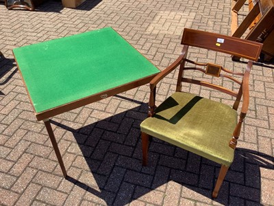 Lot 154 - Two good quality inlaid mahogany carvers and two standard chairs and a folding card table (5)