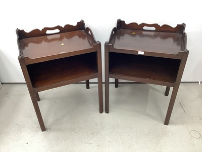 Lot 156 - Pair of Georgian style mahogany two tier bedside table, 56cm wide x 44cm deep x 75cm high