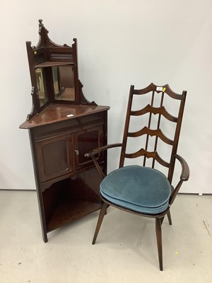 Lot 157 - Unusual ercol ladder back elbow chair and an Edwardian corner cupboard
