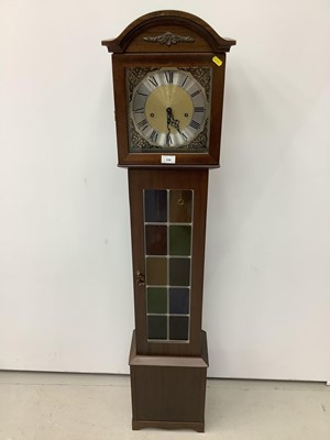 Lot 159 - Reproduction mahogany grandmother clock with leaded glazed door, 149cm high
